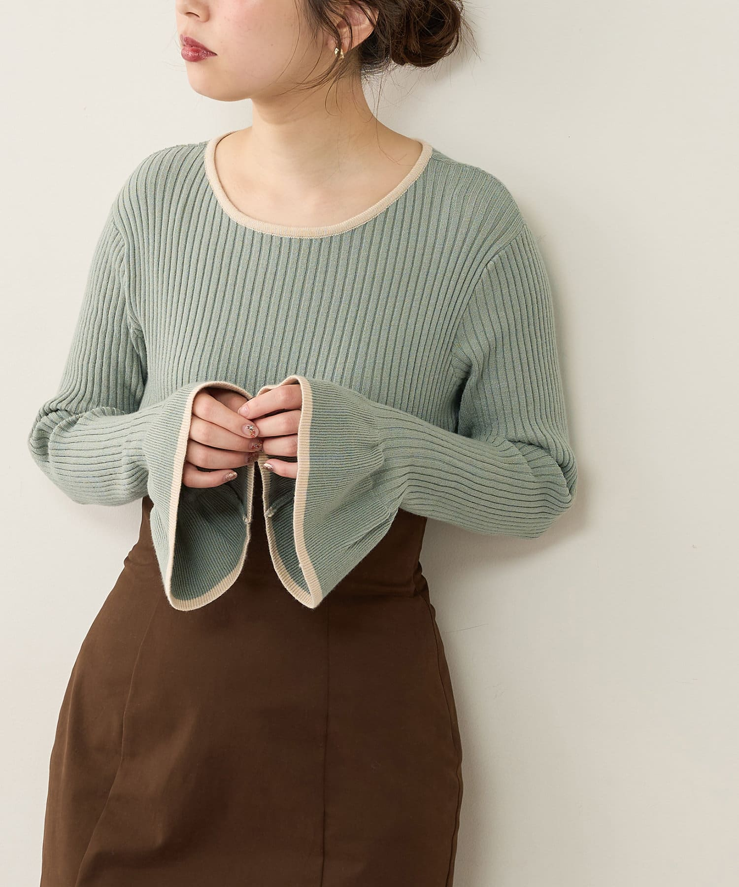 natural couture(ナチュラルクチュール) プチプラフリル袖ニット