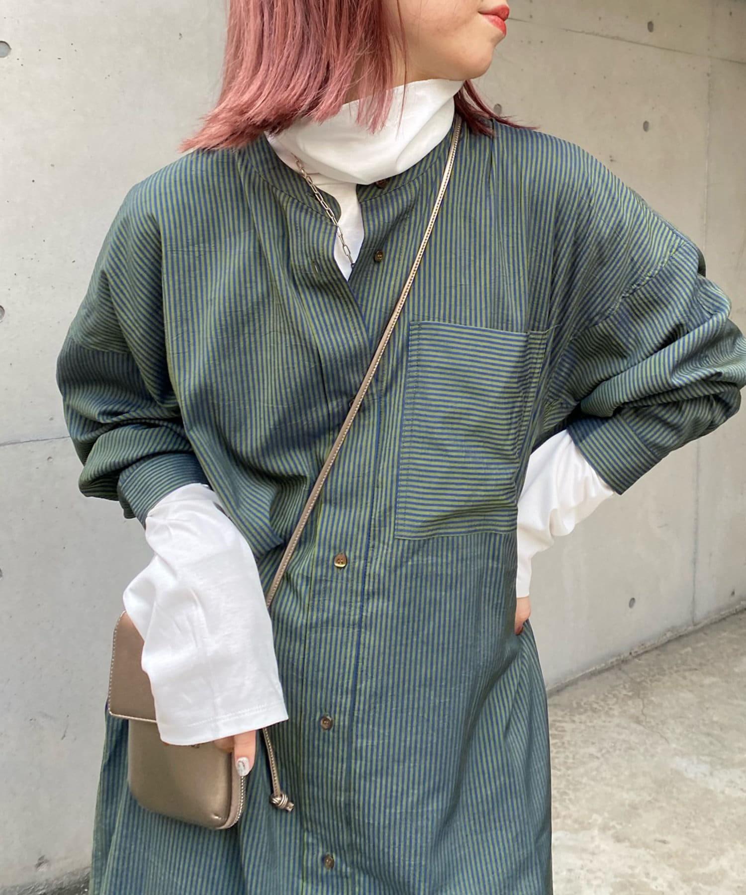 DOUDOU(ドゥドゥ) 配色ストライプギャザーシャツワンピース