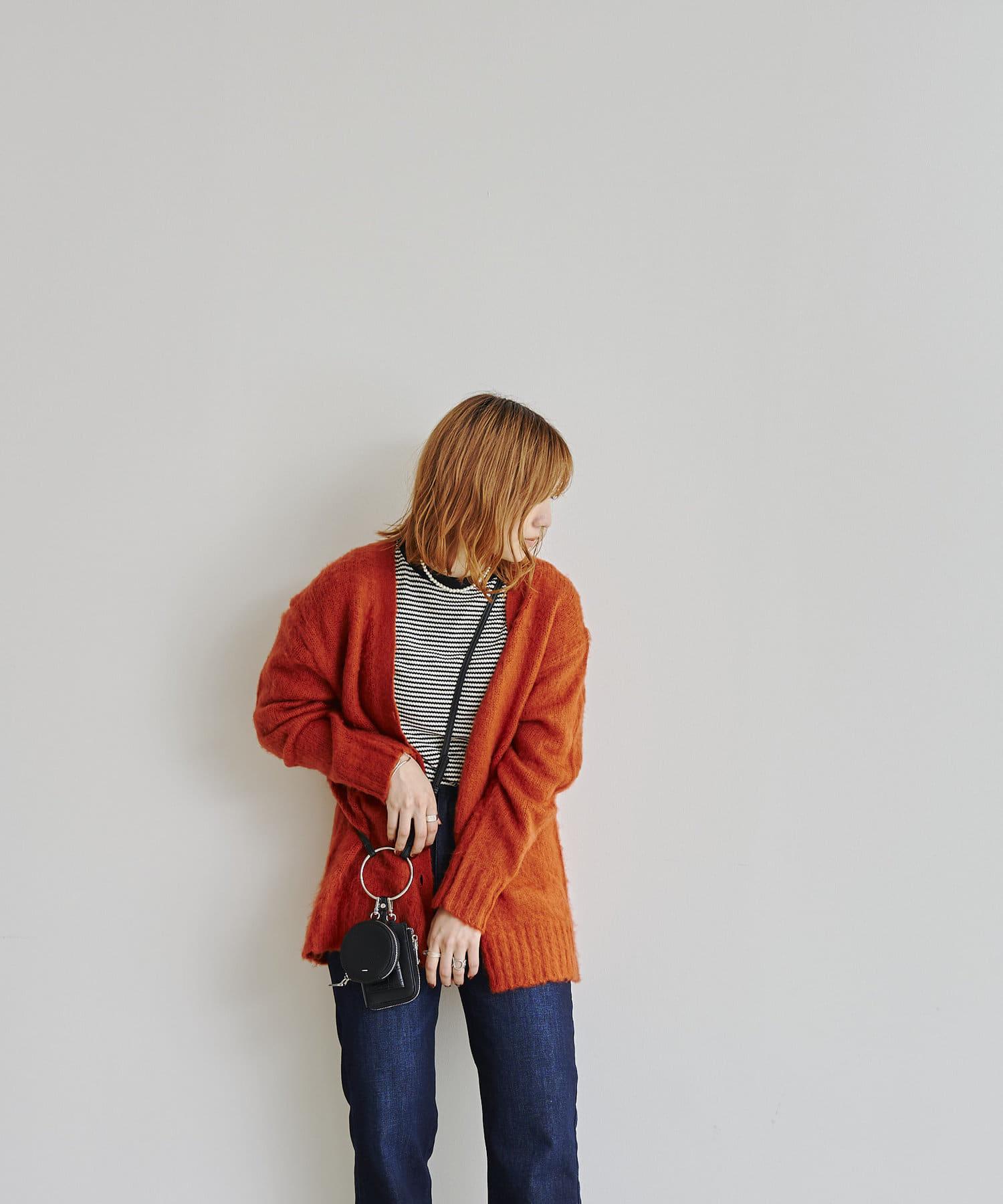 CPCM(シーピーシーエム) モヘヤ風起毛糸カラーカーディガン
