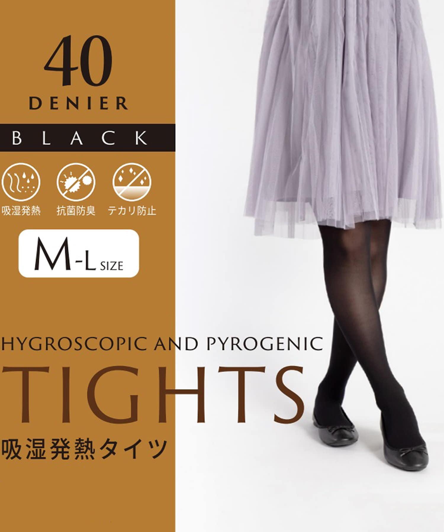 3COINS(スリーコインズ) レディース 吸湿発熱タイツ40デニール:Mサイズ ブラック
