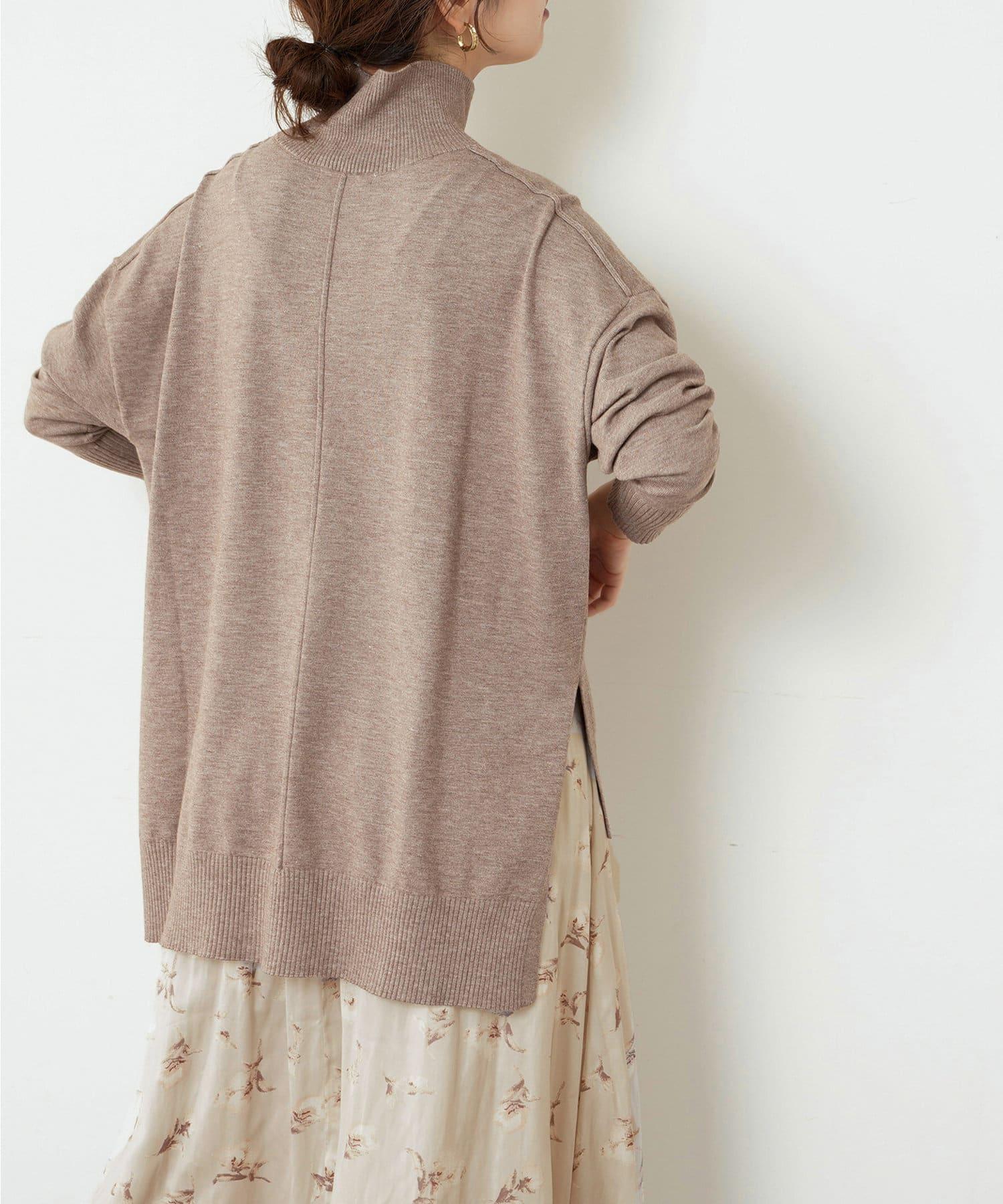 natural couture(ナチュラルクチュール) レディース 【大好評リバイバルアイテム】もちもちゆるっとハイネックニット モカ