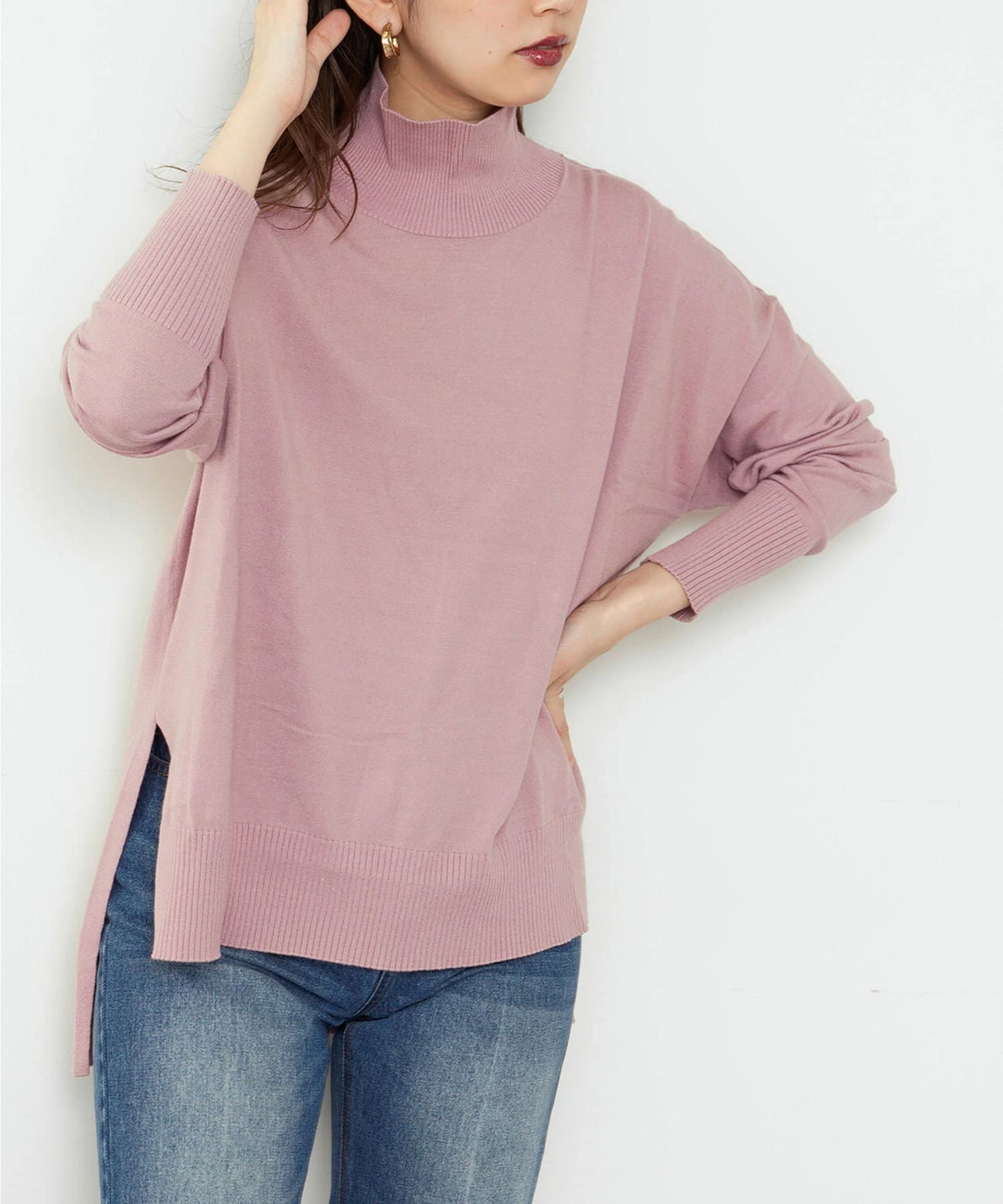 natural couture(ナチュラルクチュール) レディース 【大好評リバイバルアイテム】もちもちゆるっとハイネックニット ピンク