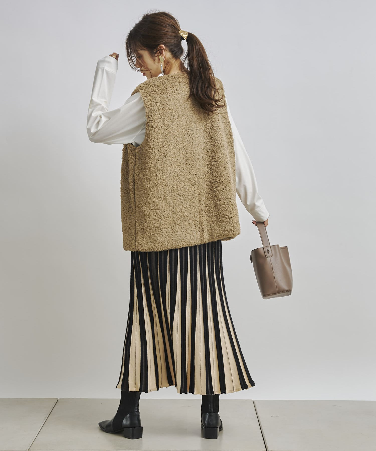 Chez toi(シェトワ) 【着用動画あり】カラフルストライプマーメイドニットスカート