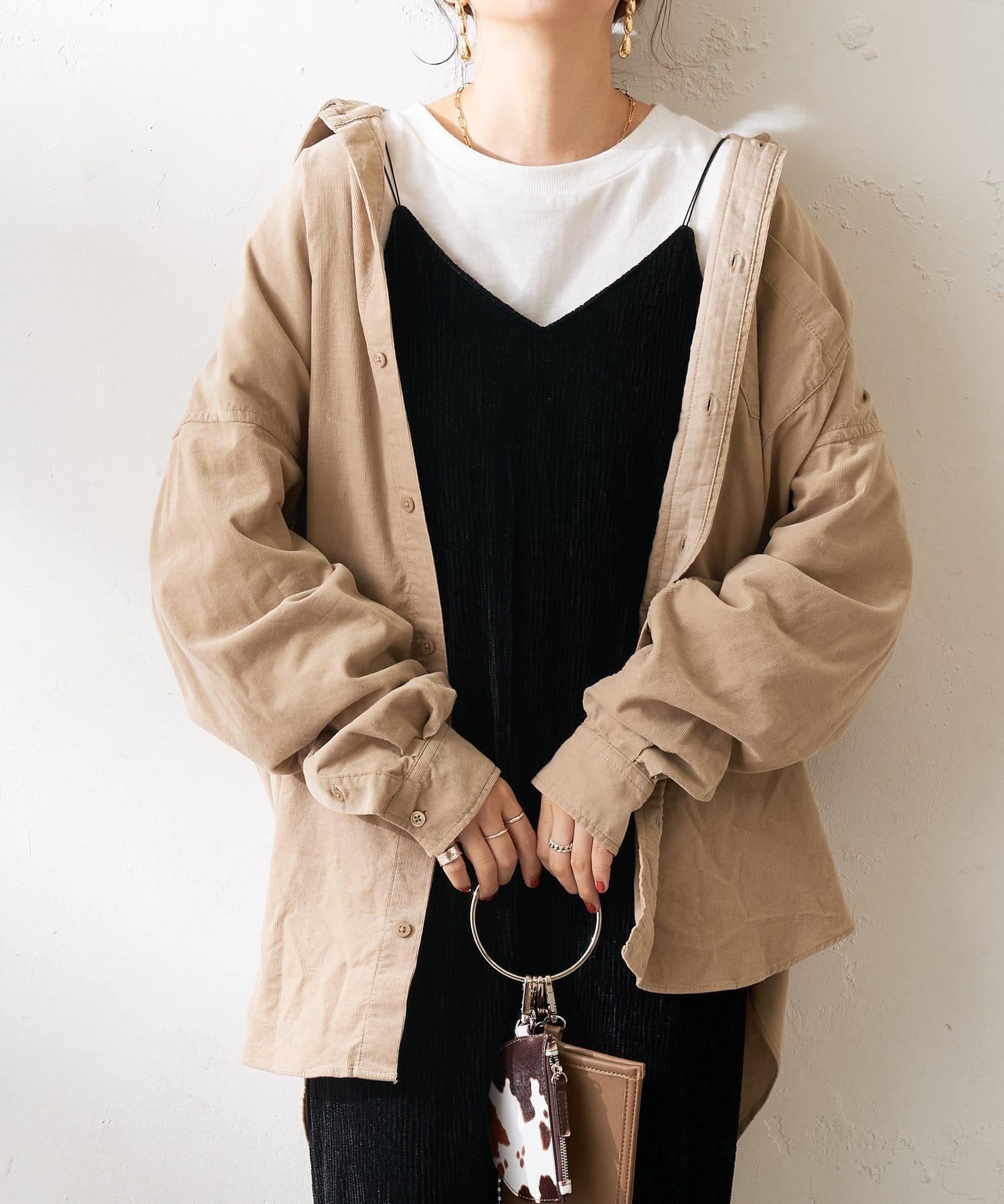 Discoat(ディスコート) メンズ 28Wコールビックシャツ グレージュ