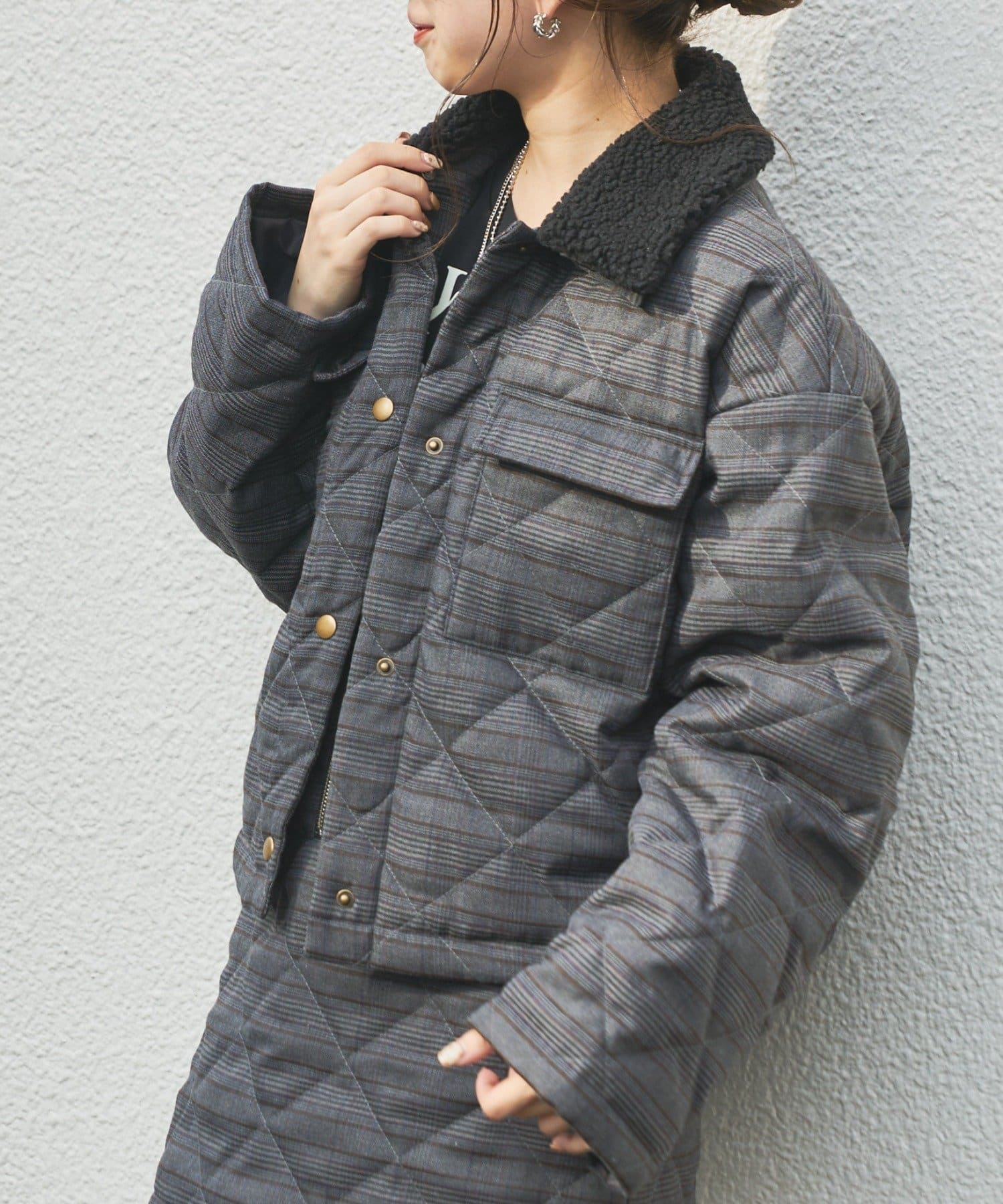 who's who Chico(フーズフーチコ) 【SET UP対応】取り外しボア襟キルティングジャケット