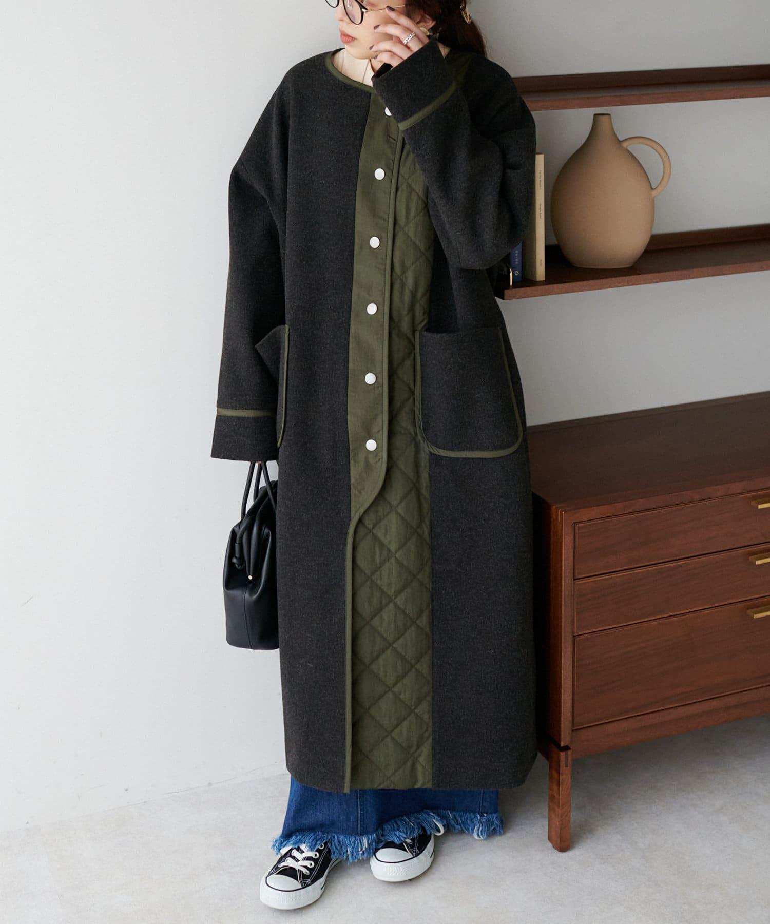 Discoat(ディスコート) 異素材切替ロングコート