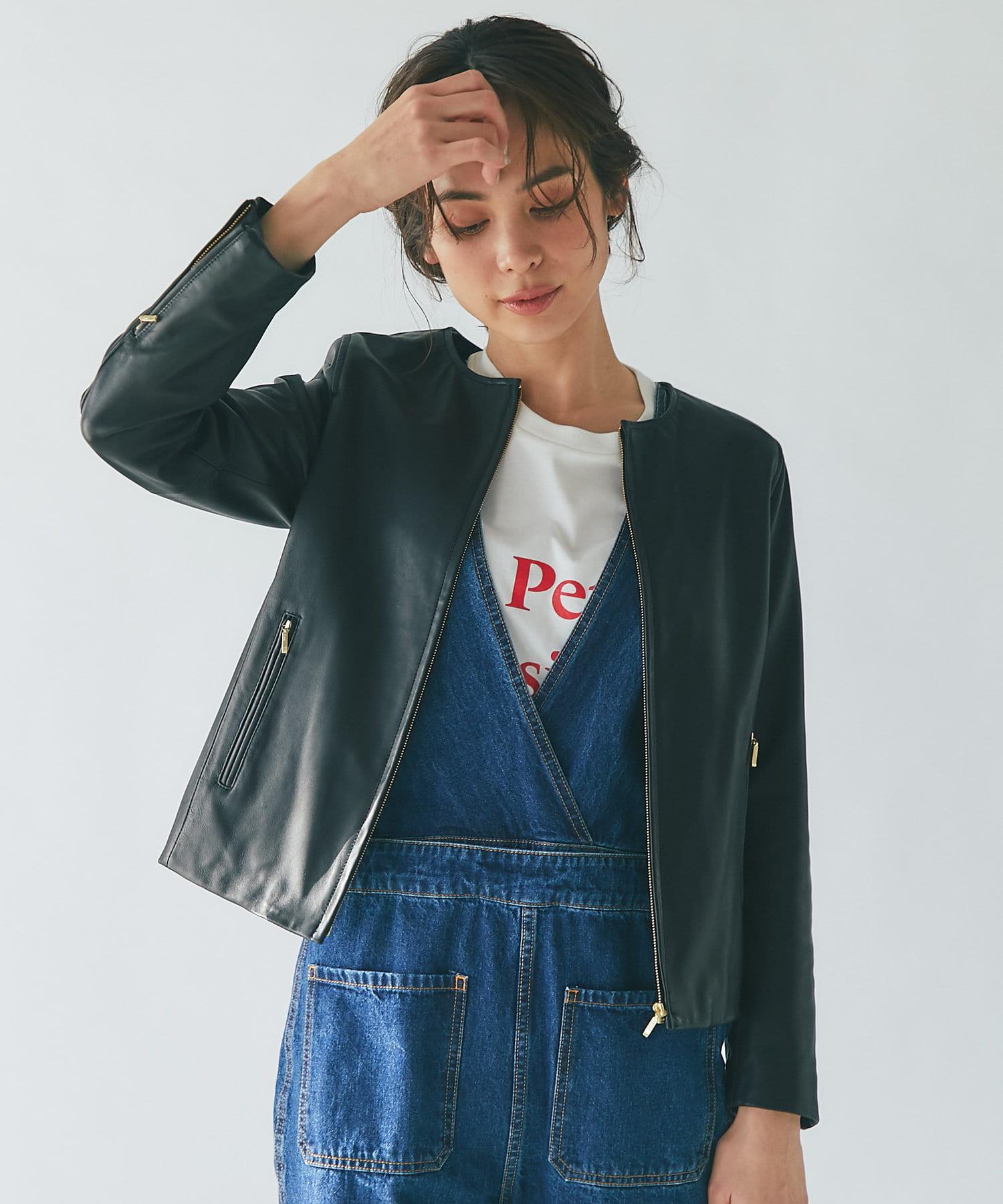 La boutique BonBon(ラブティックボンボン) 【女性らしい着こなしが叶う】ノーカラーレザージャケット