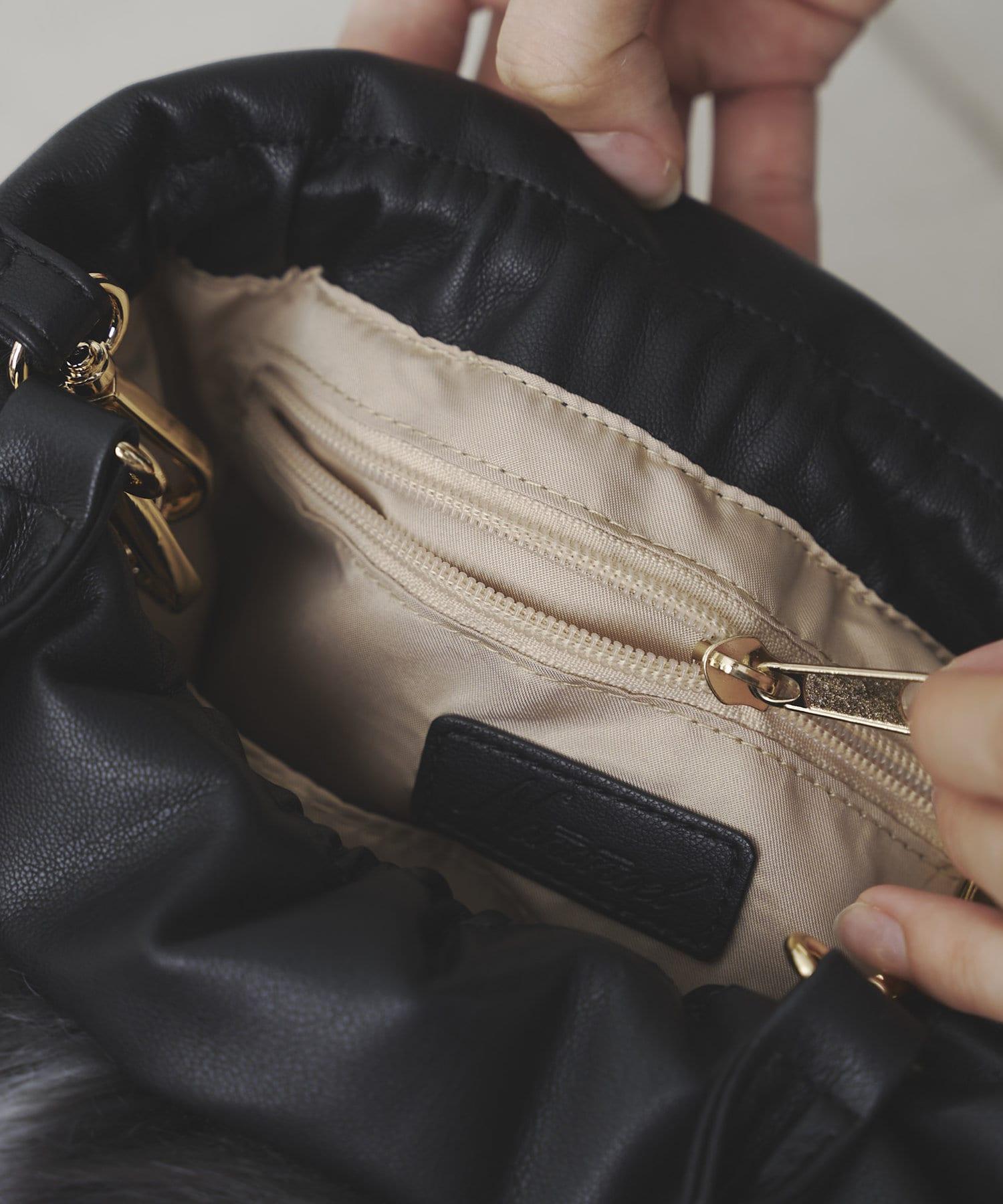 mona Belinda(モナ ベリンダ) 《WEB限定》エコファー巾着2WAYショルダーバッグ