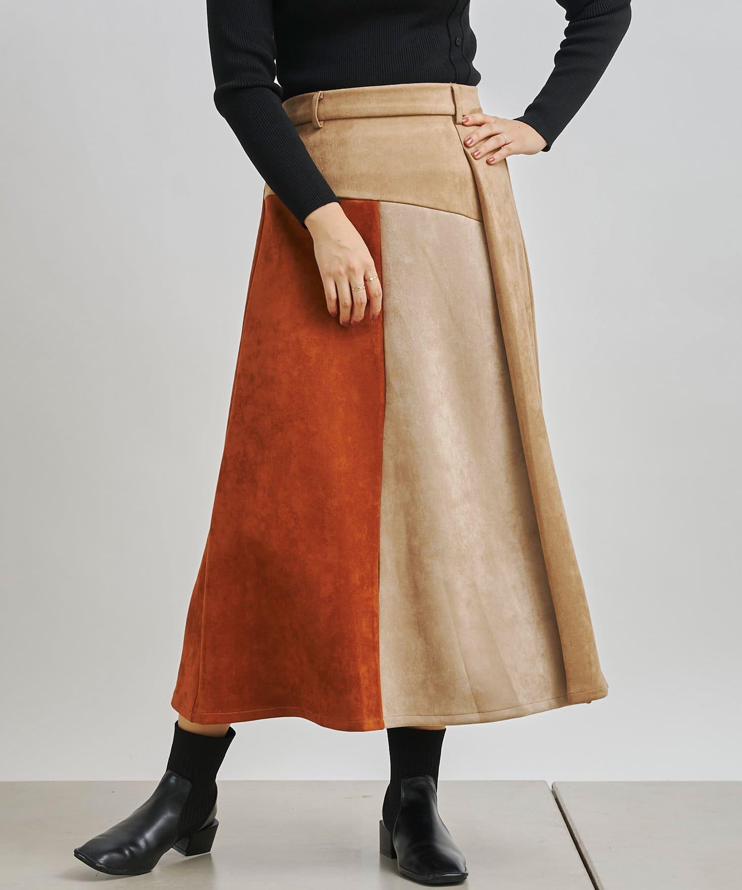 Chez toi(シェトワ) ボンディングスエード配色スカート