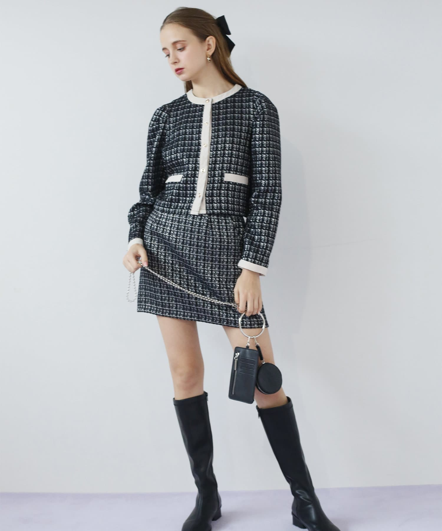 Seemi.by NICE CLAUP(シーミーバイナイスクラップ) パイピングスカート