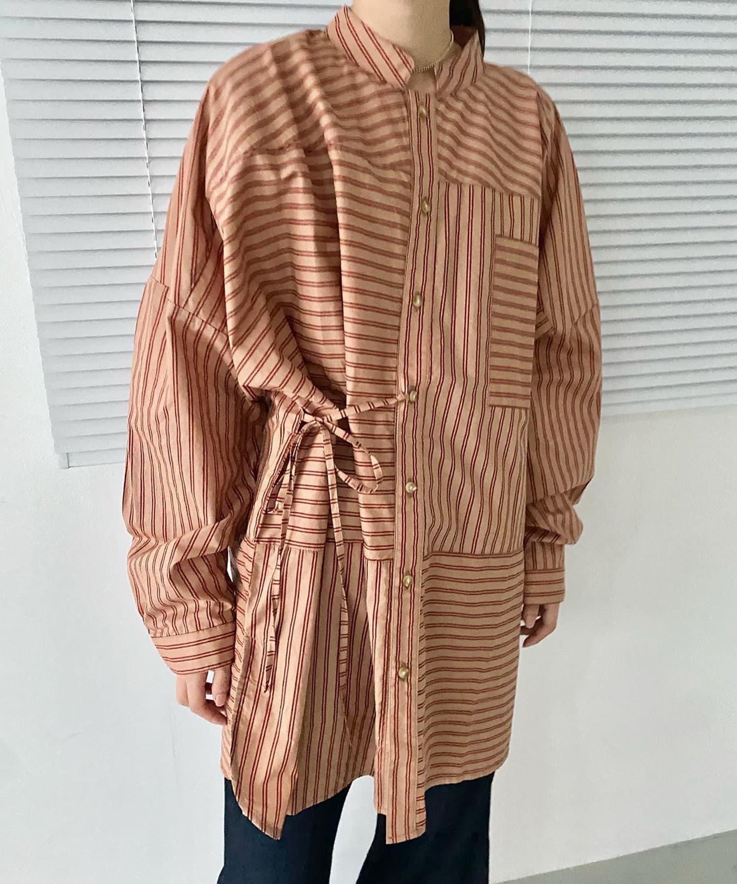 Kastane(カスタネ) パッチワークストライプアレンジシャツ