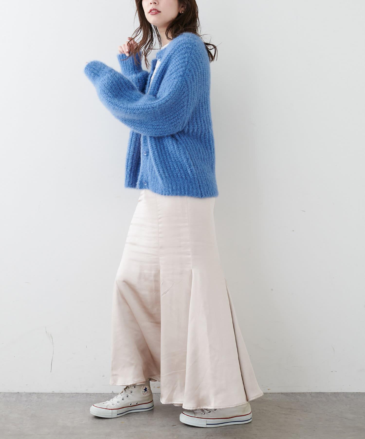 natural couture(ナチュラルクチュール) 【着用動画あり】クリア釦ふわモコカラーカーディガン