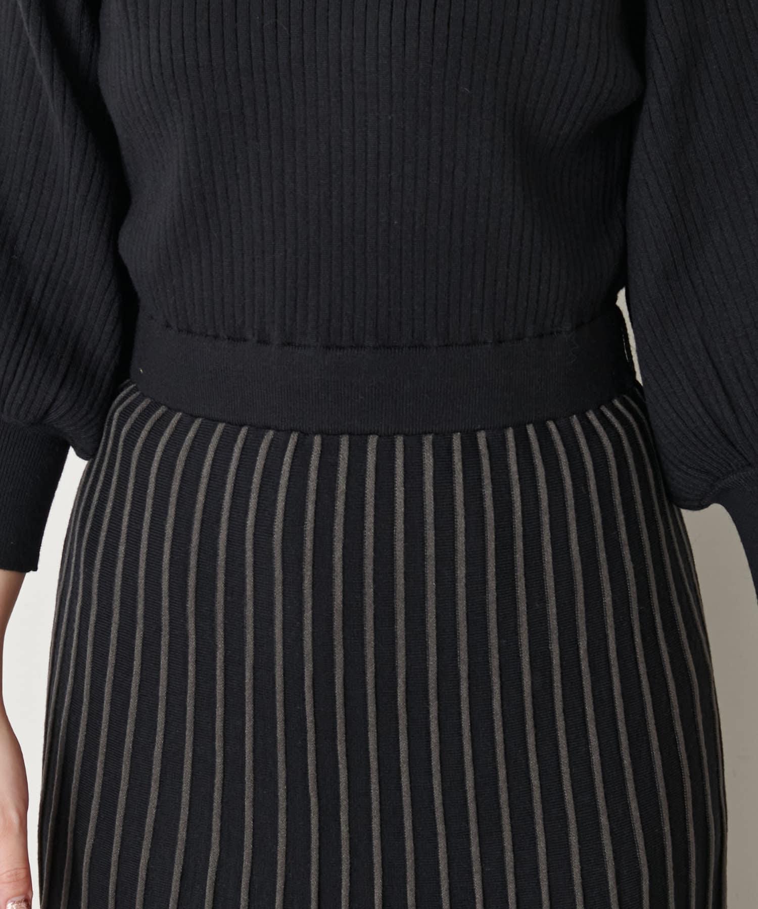 natural couture(ナチュラルクチュール) 【WEB限定・大好評リバイバルアイテム】配色ニットプリーツワンピース