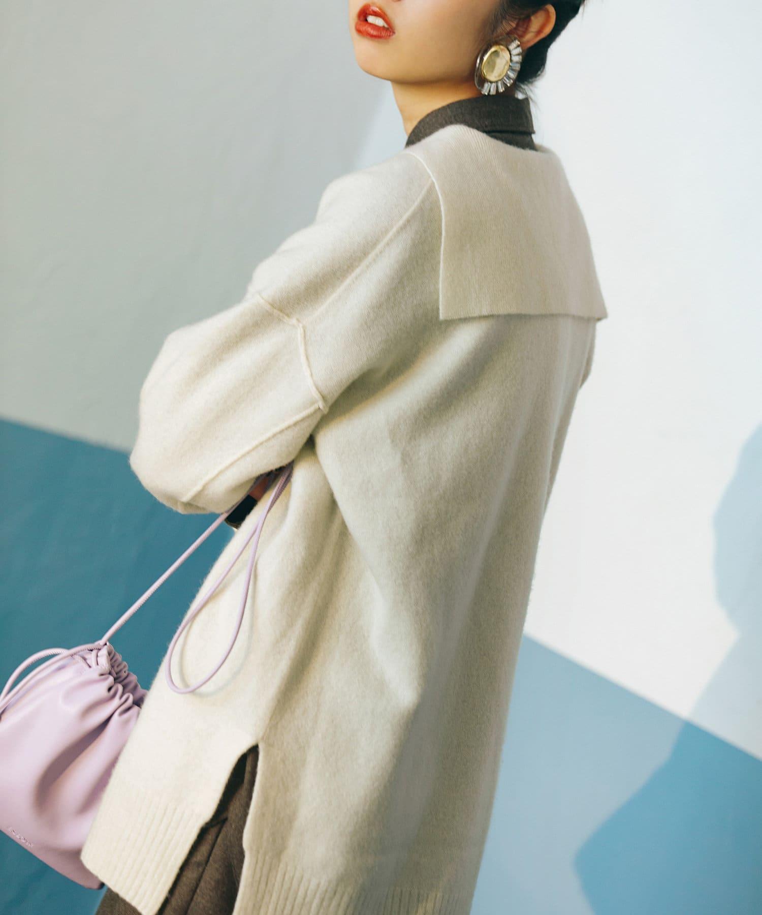 La boutique BonBon(ラブティックボンボン) 《予約》【COZスタイル・トレンドのビッグカラーが進化】セーラーカラーニット