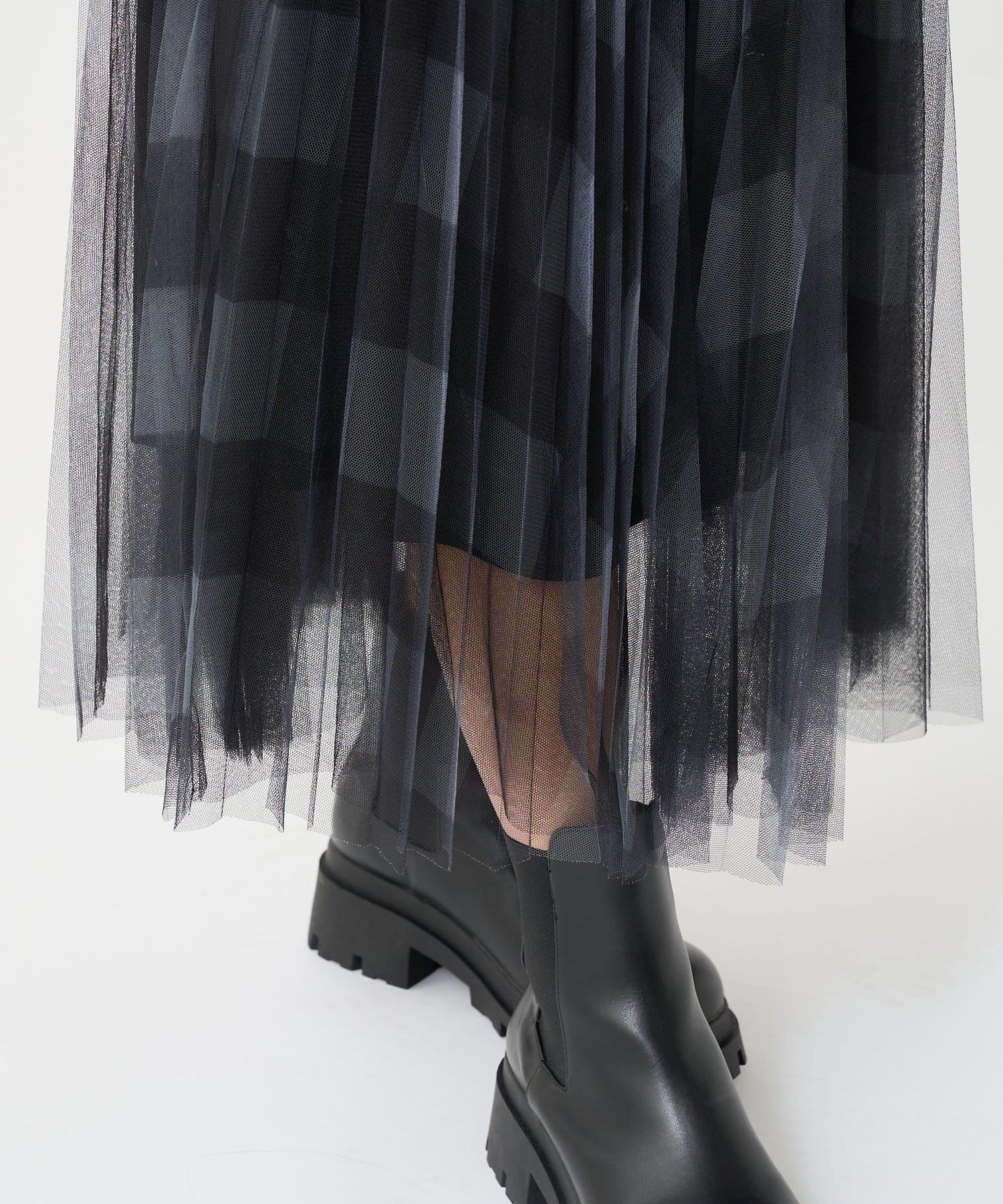 PLUS OTO.HA(プラス オトハ) チュールチェックプリーツスカート