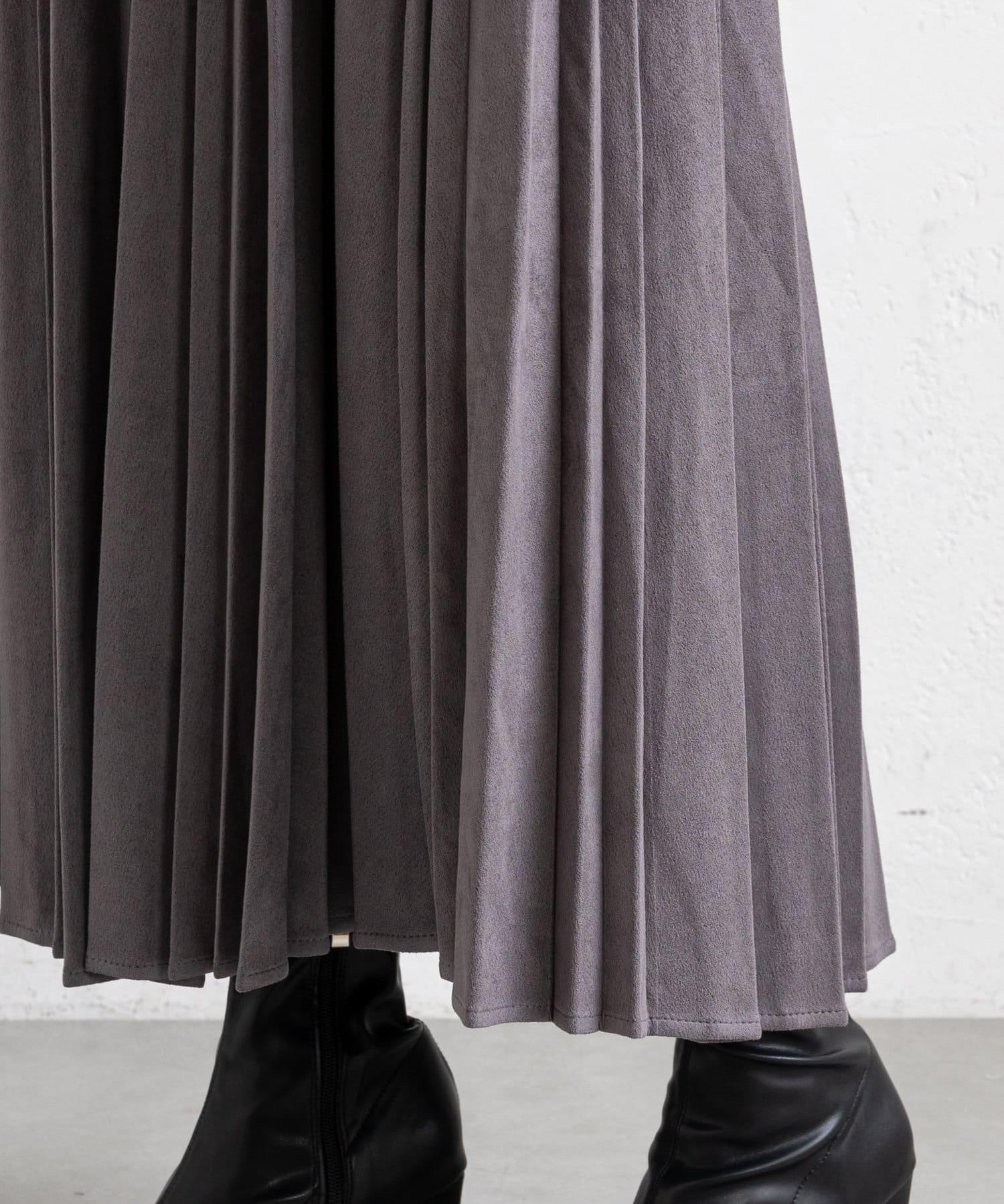 prose verse(プロズヴェール) 【ウエストゴム仕様】ランダムプリーツスエードスカート