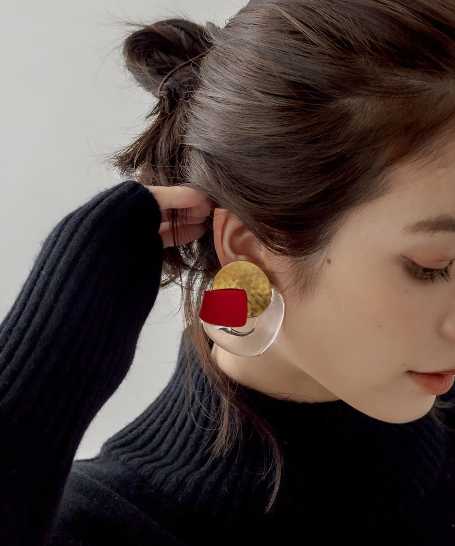 La boutique BonBon(ラブティックボンボン) 《予約》【秋を感じるレッド・HUI(ヒュイ)】PALLETイヤリング
