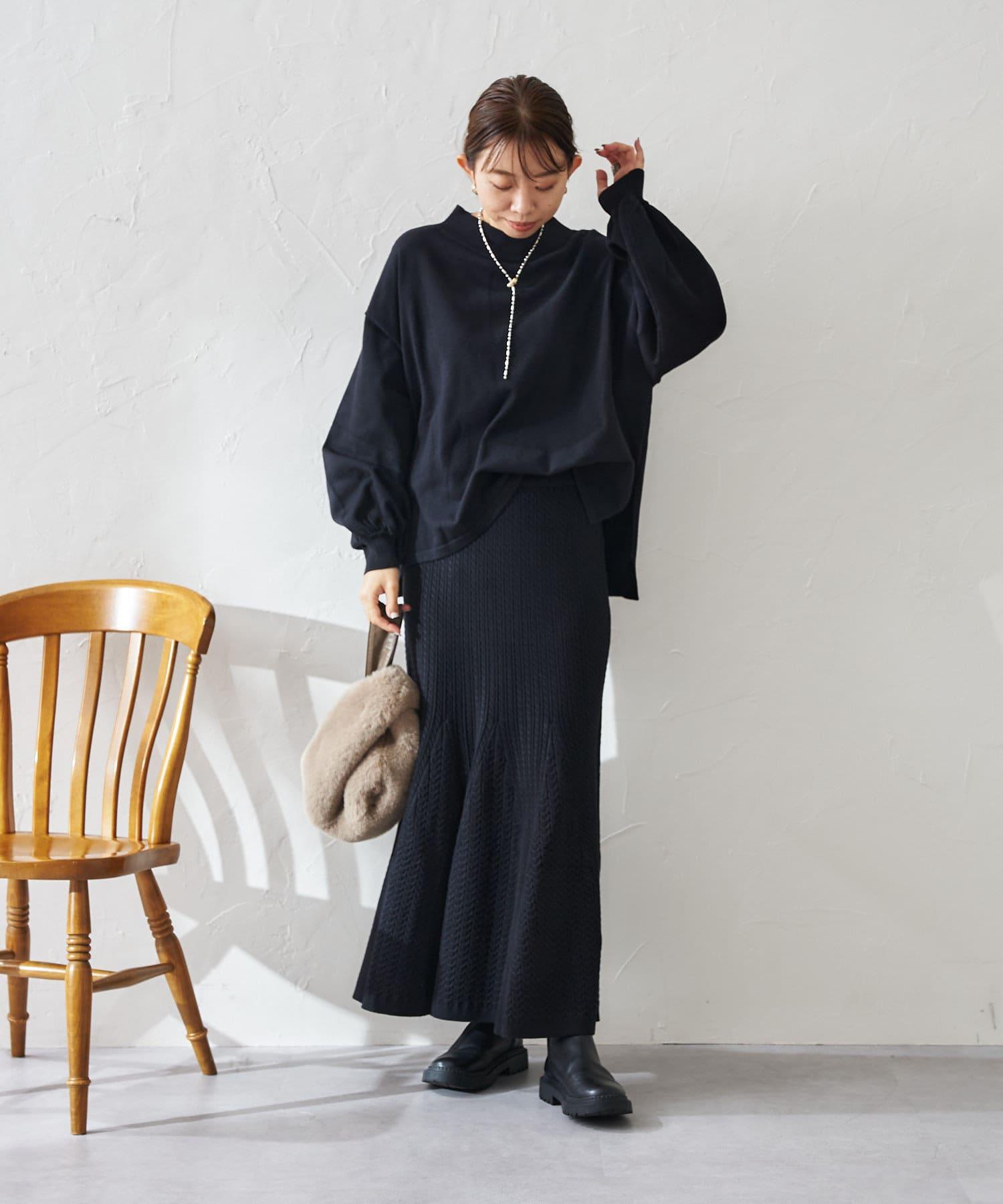 DOUDOU(ドゥドゥ) ケーブル編みストレッチニットフレアスカート
