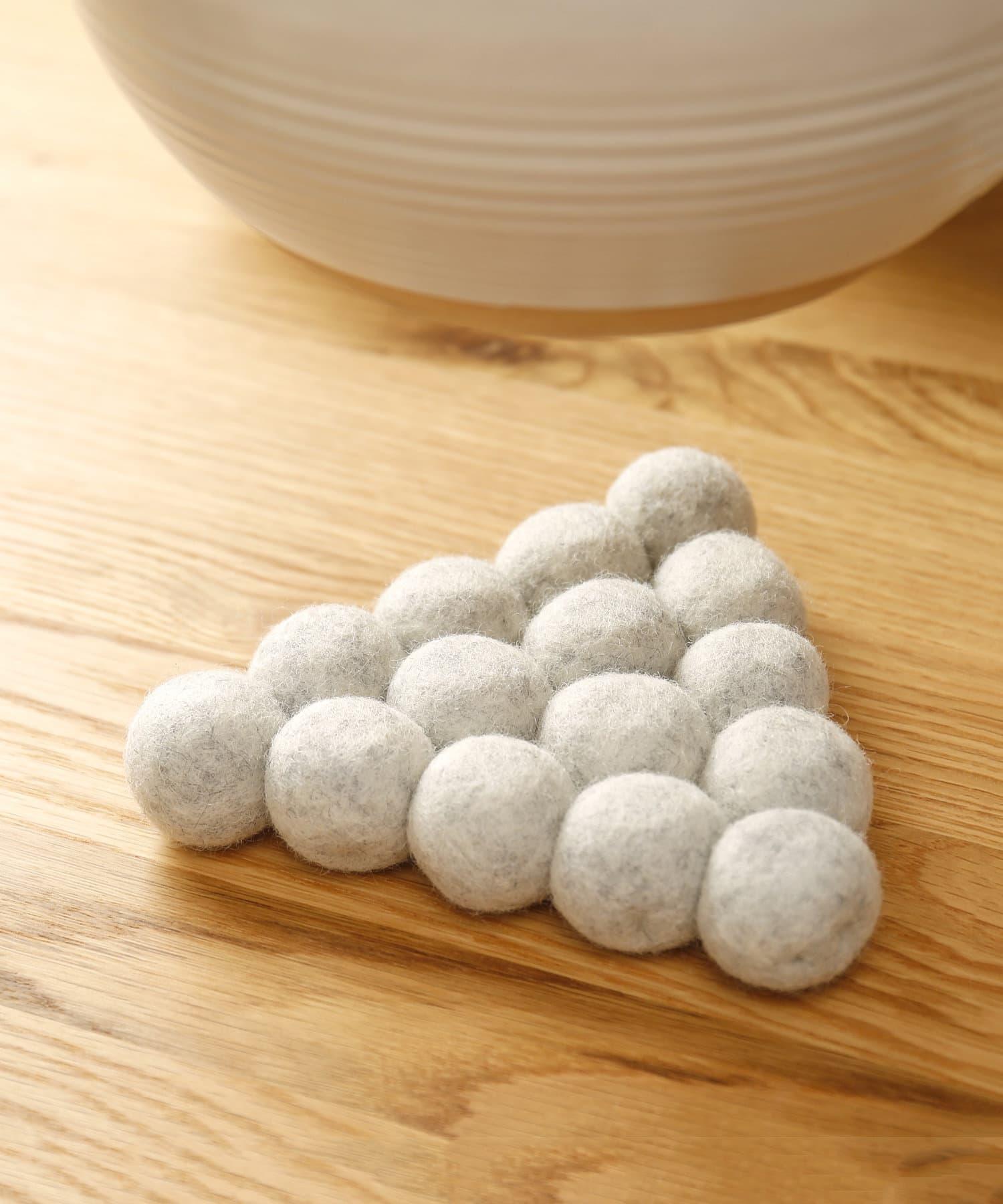 3COINS(スリーコインズ) ライフスタイル ボール鍋敷 グレー