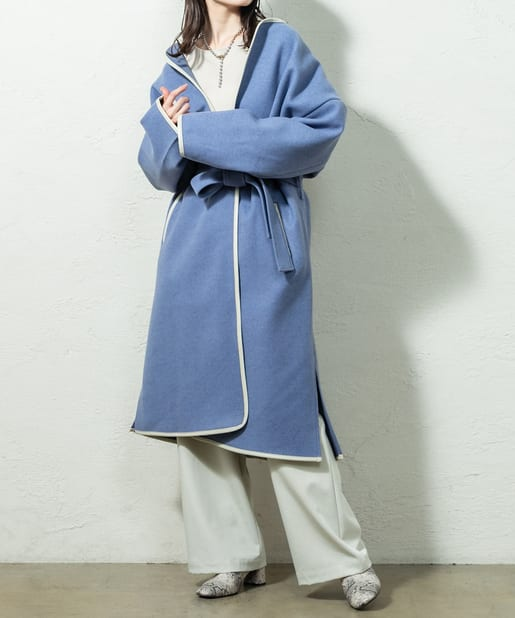 OUTLET(アウトレット) 【mystic】パイピングノーカラーコート