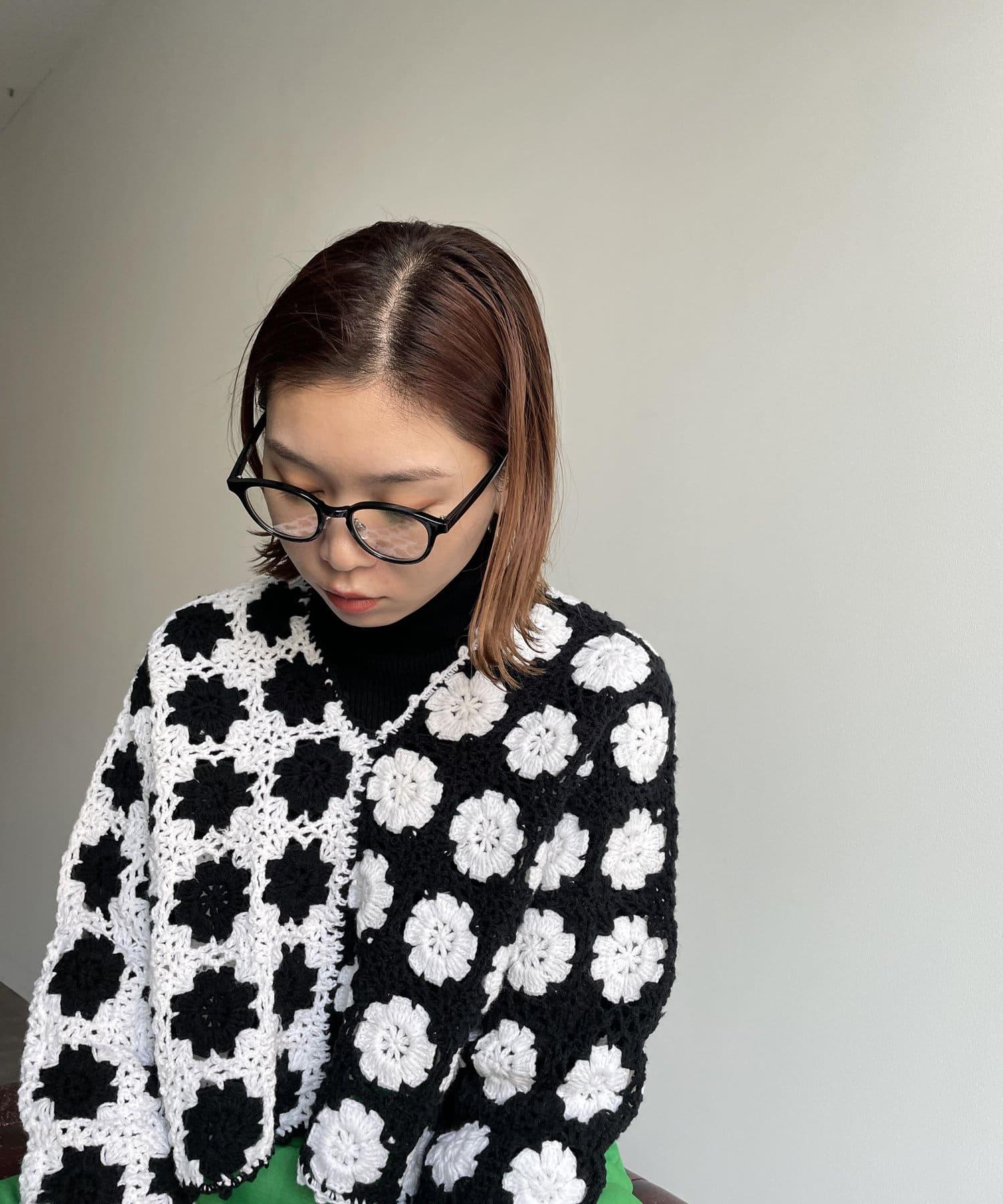mona Belinda(モナ ベリンダ) 【ハンドメイド仕様】クロシェ編みクロップドニット