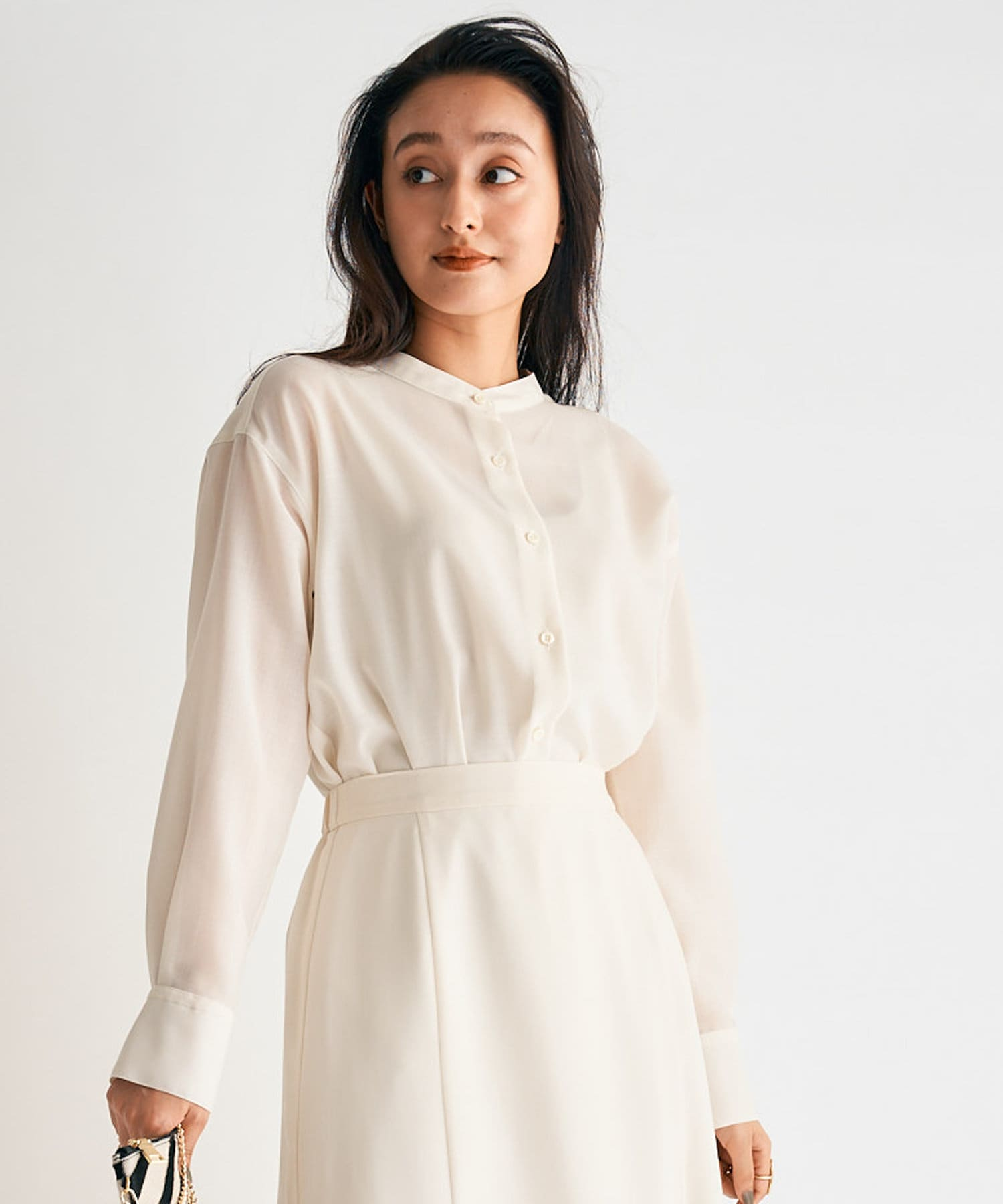 La boutique BonBon(ラブティックボンボン) 《予約》【セットアップ可・軽起毛で暖かみ感じる】ウールビエラバンドカラーシャツ
