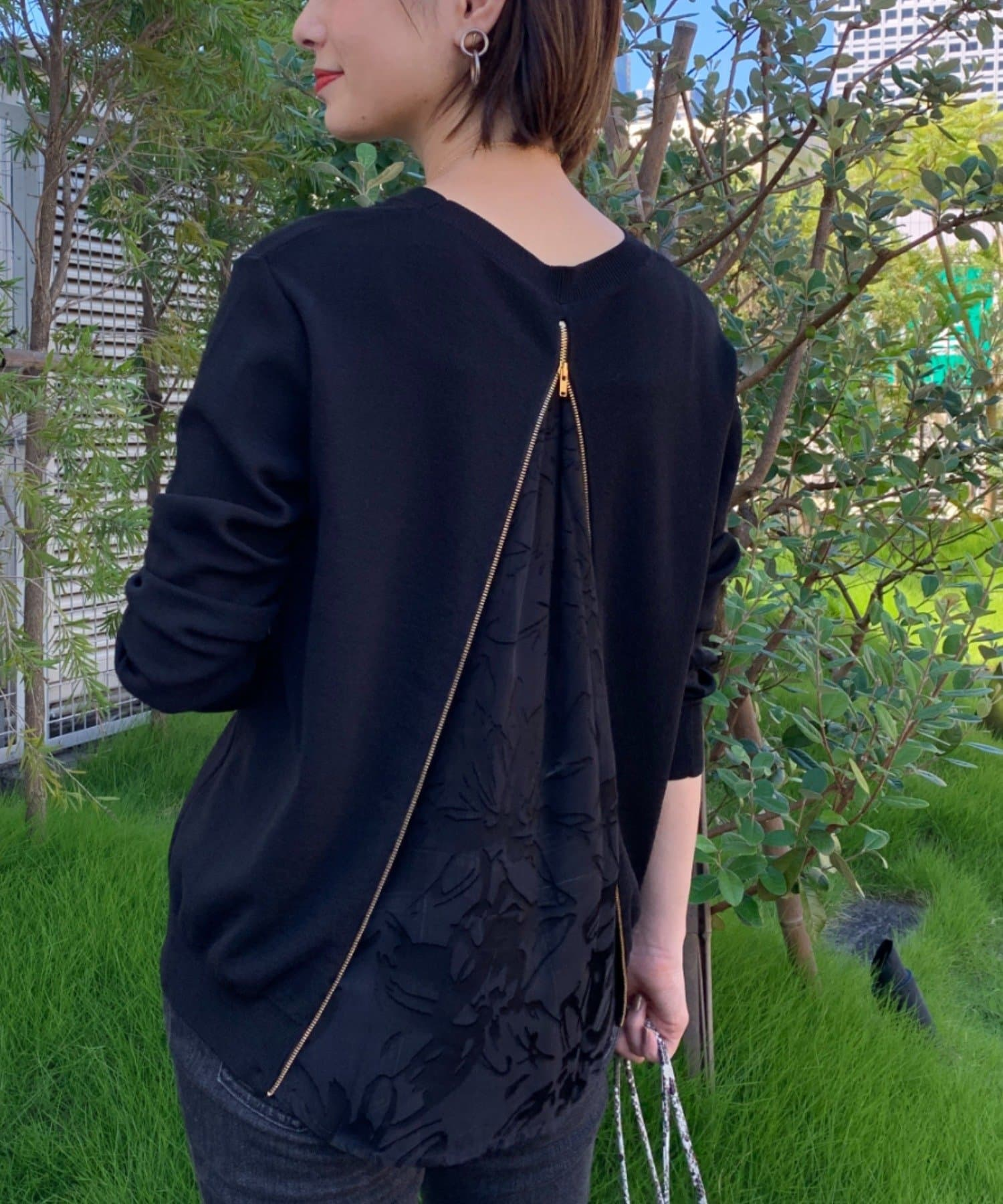OUTLET(アウトレット) 【Loungedress】バックZIPニット