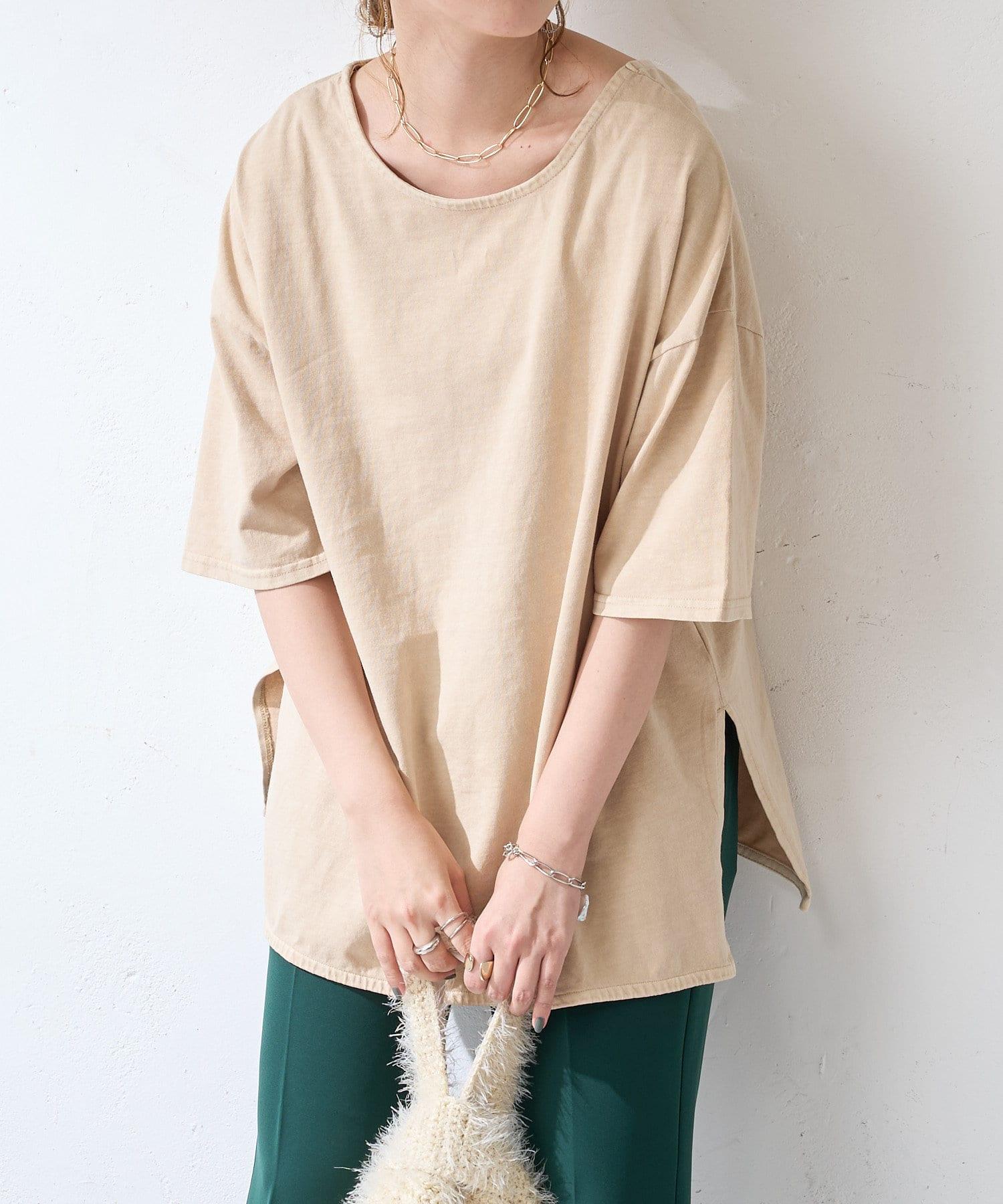OUTLET(アウトレット) 【Discoat】【ARTEX】バックオープンチュニックロングTシャツ