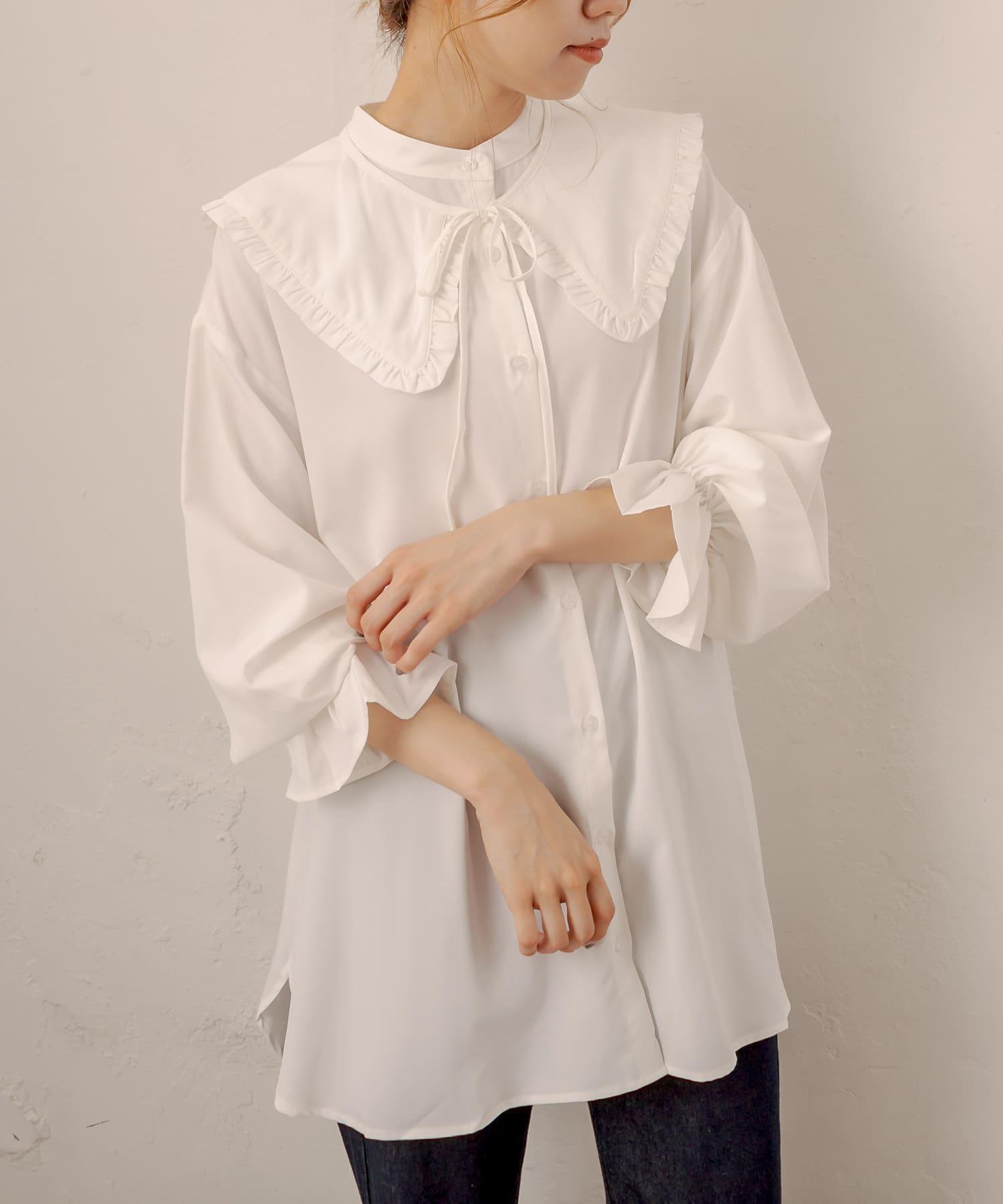OLIVE des OLIVE(オリーブ デ オリーブ) フリル衿取り外しチュニックシャツ