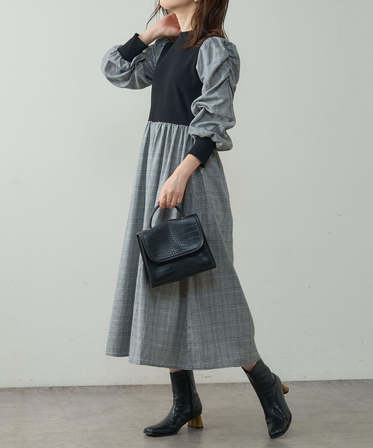 natural couture(ナチュラルクチュール) 【WEB限定】袖コンドッキングワンピース